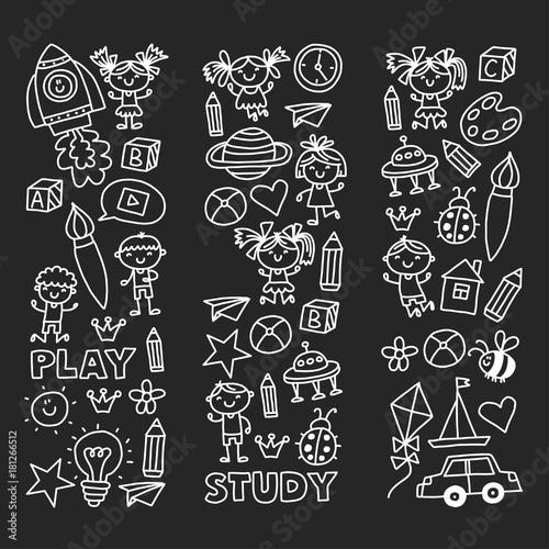 Foto Kindergarten Nursery Preschool School education with children Doodle pattern Pla