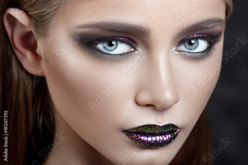 Garden Poster Beauty Young beautiful girl with purple make-up