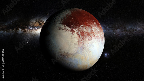 Платно dwarf planet Pluto lit by the stars of the Milky Way galaxy