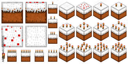 set the cakes in the style of minecraft (2D and 3D with a different number of ca Canvas Print