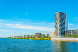 New district under construction next to the Weser river in Bremen, Germany.