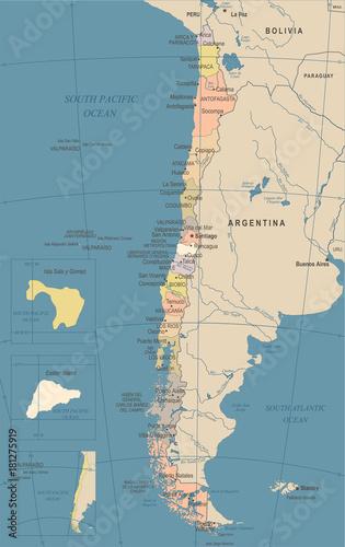 Chile Map - Vintage Detailed Vector Illustration – kaufen Sie se on