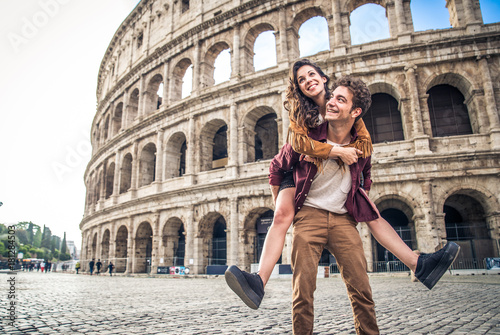 Photo Stands Rome Couple at Colosseum, Rome