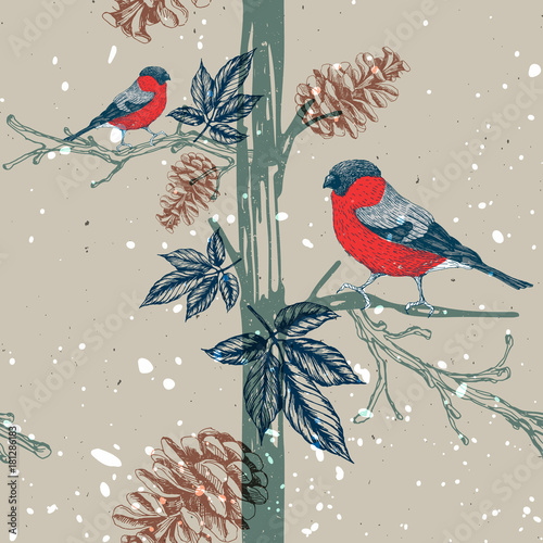 Cotton fabric Seamless pattern with bullfinch on tree branch. Seasonal natural pattern with pine cones. Vector illustration. Hand drawn image.
