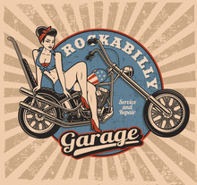 Pin Up Girl On Motorcycle (col...