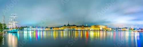 Photo  Night panorama of Stockholm including the royal castle, Gamla Stan, Sodermalm island and Af Chapman ship