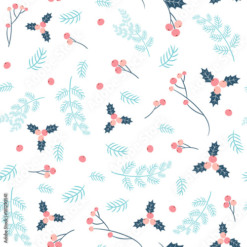Cotton fabric Simple and stylish vector seamless pattern with pine branches and holly in pink and blue colors for Christmas and winter designs and fabric