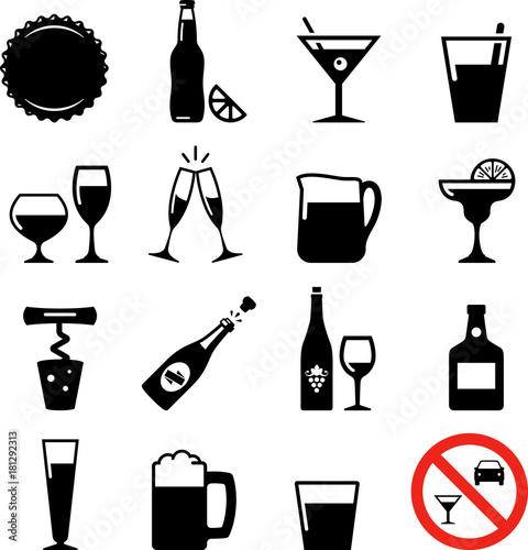 Obraz Drink Icons - Black Series - fototapety do salonu
