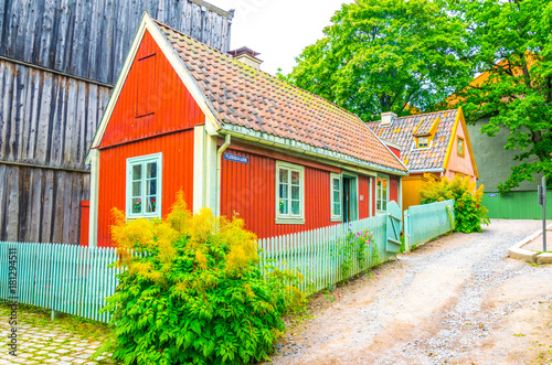 Photo  View of a traditional building in the norwegian folk museum in Oslo, Norway