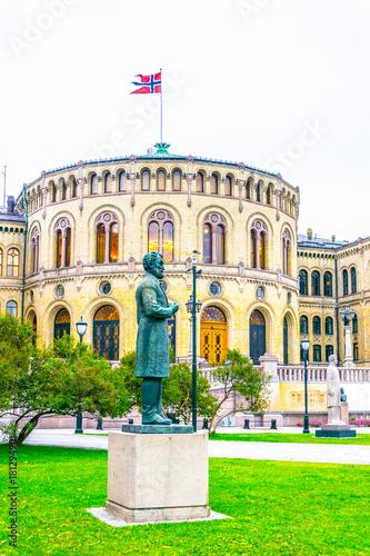 View of the norwegian parliament stortinget Poster