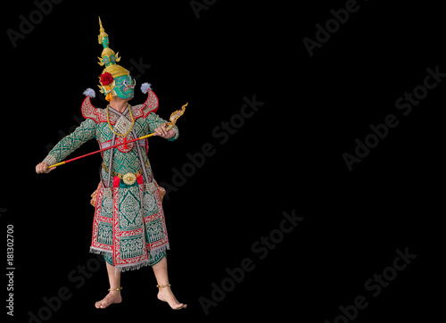 Fotomural Thotsakan or Ravana, one of the demon king in Thai Ramayana pantomime isolated o