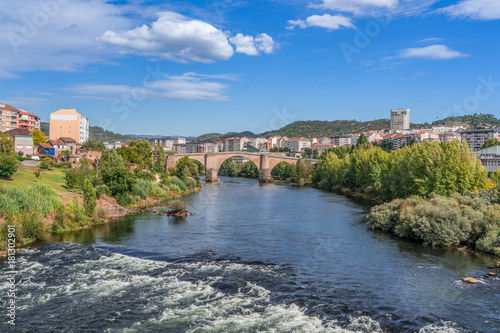 Overlook bridge and river Minho in the city of Ourense in Spain