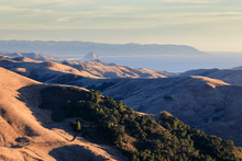 Morro Rock From The Mountains In San Luis Obispo During Sunset