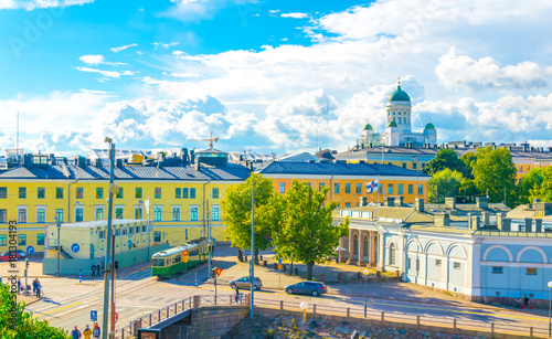 Canvas Print Aerial view of Helsinki with the Helsinki cathedral rising above surrounding cityscape, Finland
