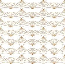 Japanese Fan Seamless Pattern Vector. Gold Geometric Background Texture.