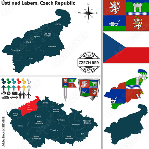 Map of Usti nad Labem, Czech Republic Poster