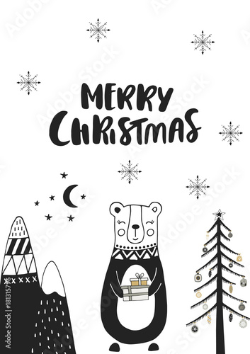 Foto auf Gartenposter Weihnachten Merry Christmas - Hand drawn Christmas card in scandinavian style with monochrome bear and lettering.