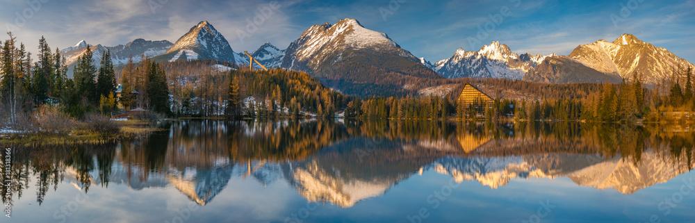 Fototapety, obrazy: panorama of a mountain lake in winter scenery, Strbske Pleso, Slovakia, High Tatras