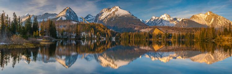 panorama of a mountain lake in winter scenery, Strbske Pleso, Slovakia, High Tatras