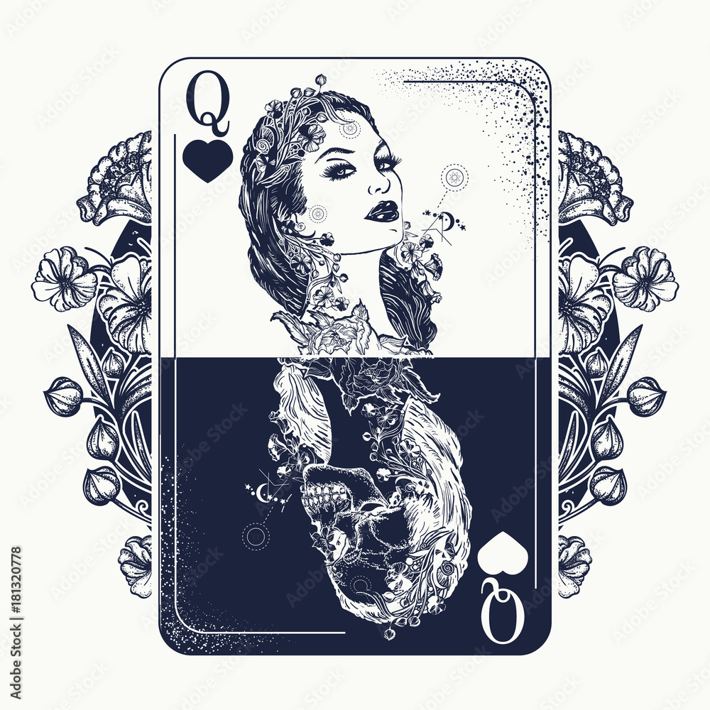Fototapeta Queen playing card and art nouveau flowers tattoo and t-shirt design. Beautiful girl and skeleton. Symbol of gamblings, Tarot cards, success and defeat, casino, poker