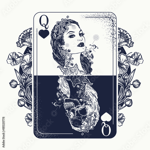Fotografija  Queen playing card and art nouveau flowers tattoo and t-shirt design