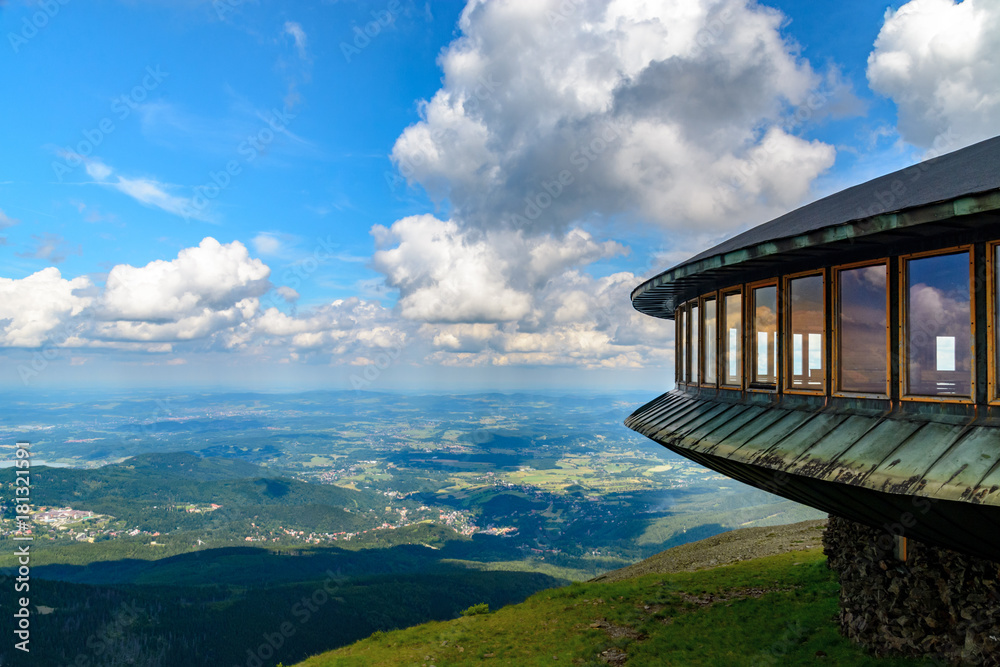 Fototapety, obrazy: Mountaine shelter and meteorological observatory at the top of Sniezka mountain - Karkonosze, Poland