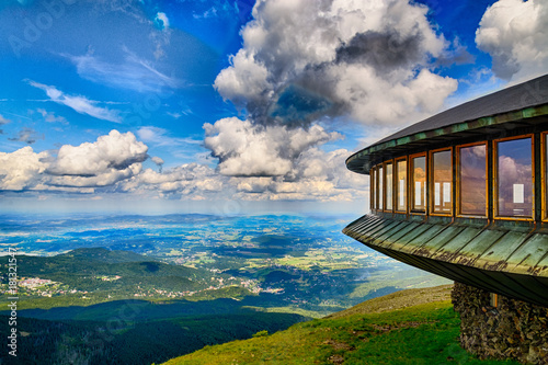 Mountaine shelter and meteorological observatory at the top of Sniezka mountain - Karkonosze, Poland