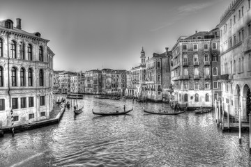 Panel Szklany PodświetlaneIl Canal Grande, con le gondole e gli antichi palazzi