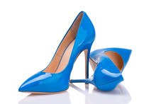 A Pair Of Blue Lacquer Shoes O...