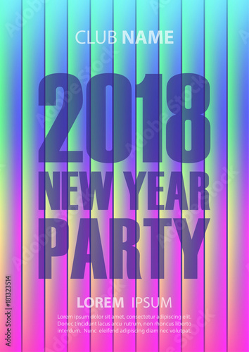 2018 new year party poster with abstract glowing background holiday celebrate invitation template vector