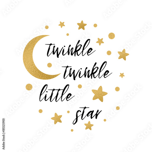 Twinkle twinkle little star text with gold star and moon for girl twinkle twinkle little star text with gold star and moon for girl baby shower card template maxwellsz