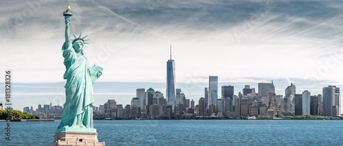 The Statue of Liberty with One World Trade Center background, Landmarks of New Y Canvas Print