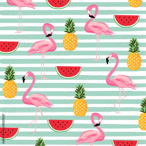 Cotton fabric Pineapple, watermelon and flamingo with stripes seamless pattern background. Cute poster design. Wallpaper, invitation card, textile print vector illustration design