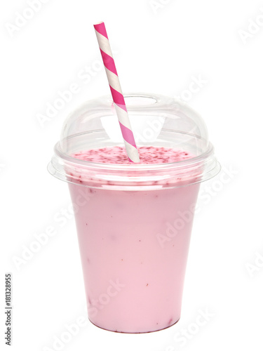 Strawberry milkshake in take away cup isolated on white background