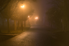 Dark Alley In Heavy Fog Ilumin...