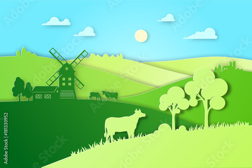 Fotobehang Lichtblauw Paper design fields and meadow illustration eco natural farming concept. Farm landscape vector flat illustration for eco product package. Ecological green farming.