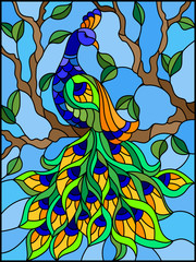 Naklejka Illustration in stained glass style bird peacock and tree branches on background of blue sky