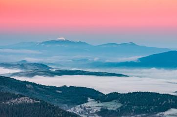 Obraz Misty mountain landscape in the morning with Babia Gora mountain, Poland
