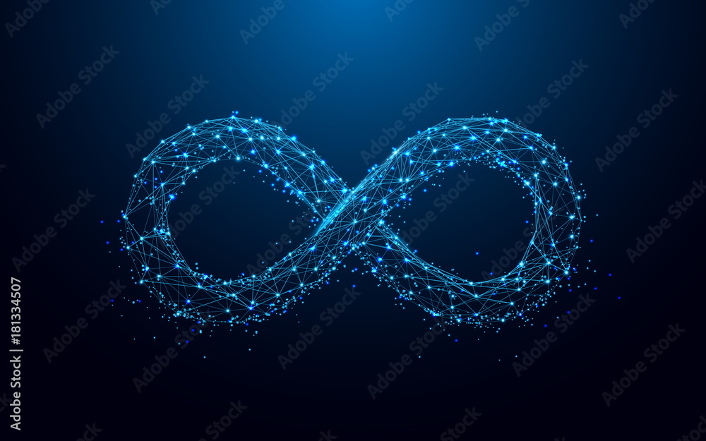 Fototapety, obrazy: Infinity icon from lines and triangles, point connecting network on blue background. Illustration vector