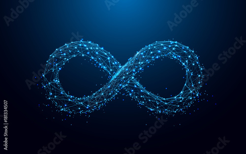 Obraz Infinity icon from lines and triangles, point connecting network on blue background. Illustration vector - fototapety do salonu