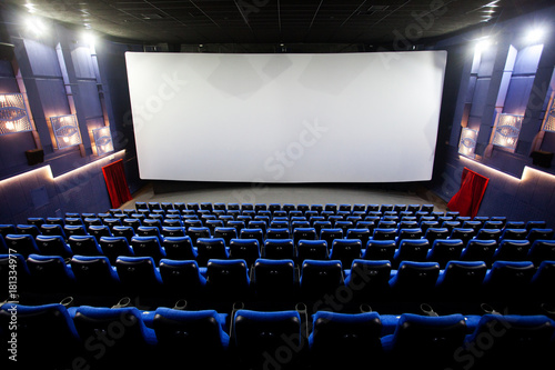 Free blue comfortable seats in the cinema imax Wallpaper Mural