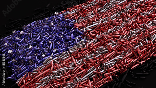 Photo USA Flag formed out of bullets