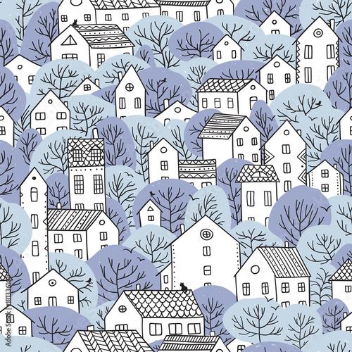 drzewa-i-domy-bez-szwu-wzor-zimowe-swiatlo-niebieskie-kolory