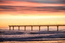 New Brighton Pier At Sunrise, Christchurch, New Zealand