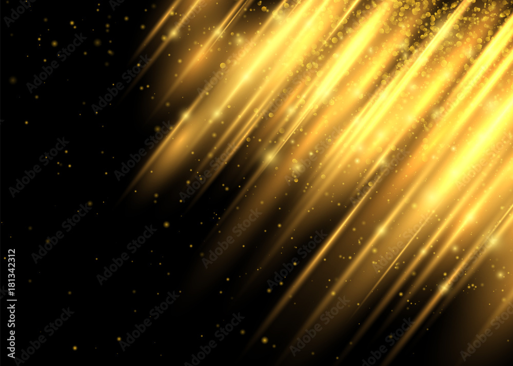 Fototapety, obrazy: Lighting Effect. This Lighting Enhance your Design Work Look Modern. Shining Motion Luxury Design. Abstract Image of Flare. Golden Lights. Vector Illustration on Black Background