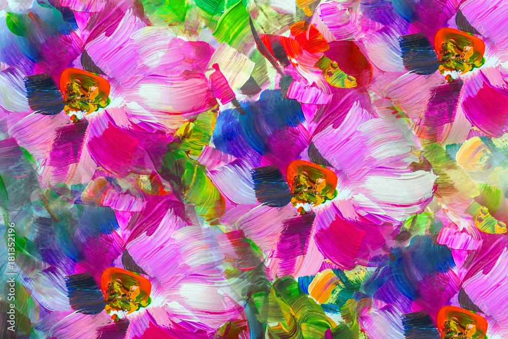 Fototapeta Oil Painting, Impressionism style, flower painting, still painting canvas,