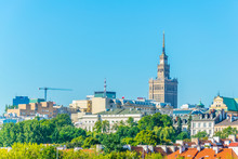 Skyline Of Warsaw Dominated By The Palace Of Culture And Science, Poland.