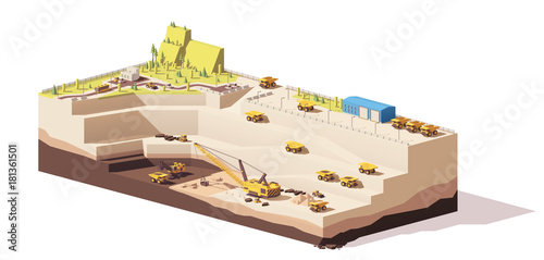 Vector low poly open pit coal mine Canvas Print