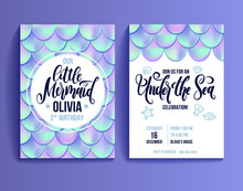 Birthday Party Invitation Card For Little Girl Mermaid. Holographic Fish Scales And Lettering Invitation. Sea Party Invitation. Vector Illustration