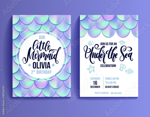 Fototapeta Birthday Party Invitation Card For Little Girl Mermaid Holographic Fish Scales And Lettering Invitation Sea Party Invitation Vector